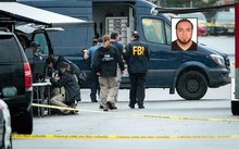 FBI officers work at the site where Ahmad Khan Rahami, inset, was arrested after a shoot-out.