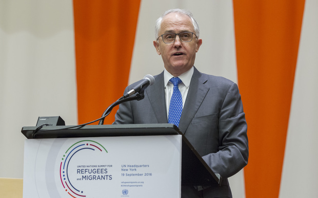 Malcolm Turnbull, Prime Minister of Australia, addresses the United Nations high-level summit on large movements of refugees and migrants. 19 Sep 2016