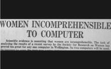 Newspaper headline reading women incomprehensible to computer
