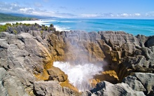 The pancake rocks near Punakaiki are among the rare limestone formations within Paparoa National Park.