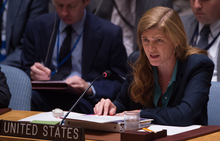 US Ambassador to the UN Samantha Power speaking during a United Nations Security Council emergency meeting on the situation in Syria, 25 September 2016