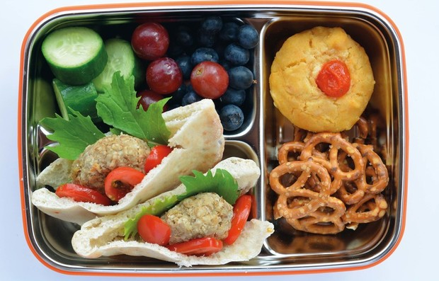 a lunch box filled with homemade snacks with no packaged processed food