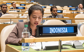 The representative of the Republic of Indonesia, Nara Masista Rakhmatia, exercises her country's right of reply during the general debate of the General Assembly's seventy-first session.
