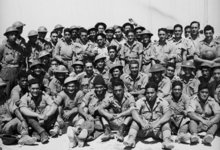 The 28th Maori Battalion at a transit camp in Egypt on the morning after their evacuation from Crete, June 1941.