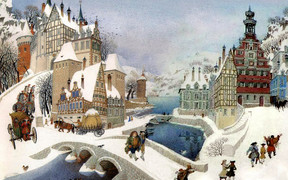 Winter scene by Gennady Spirin