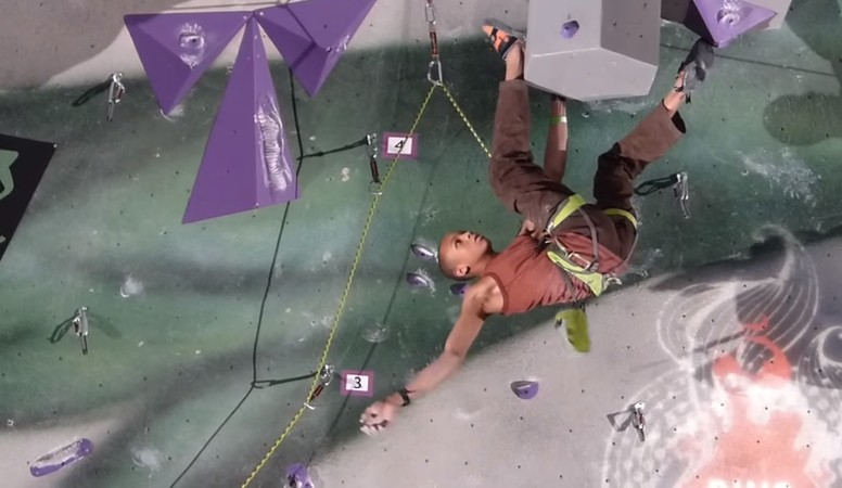 Kai Lightner climbing at the Ring of Fire competition in 2014