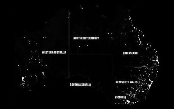 A satellite image taken overnight shows the blackout right across South Australia.