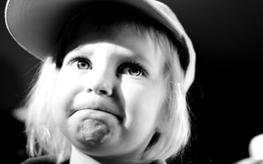 upset girl in black and white