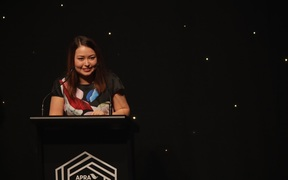 Salina Fisher, the youngest ever winner of the SOUNZ Contemporary Award collects her prize at the APRA Silver Scroll Awards 2016