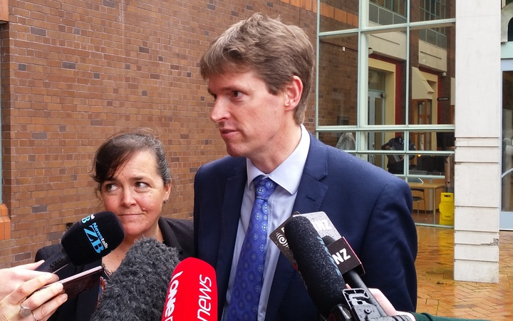 Colin Craig speaks to reporters outside the High Court in Auckland after the jury delivered its verdict.