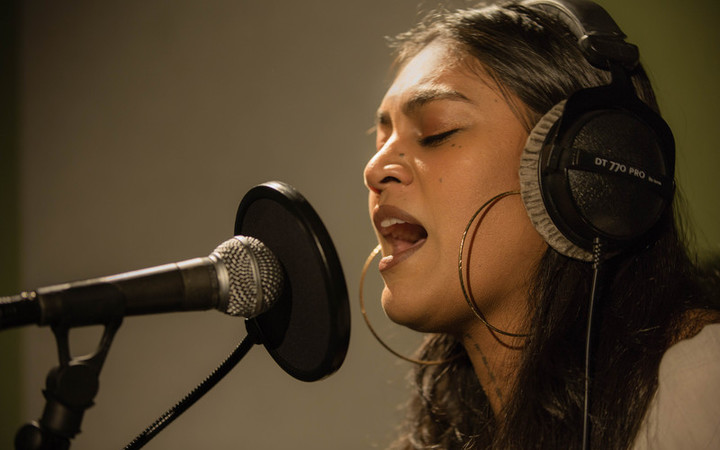 Aaradhna performing live in the RNZ Auckland studios for NZ Live. 30 September 2016.