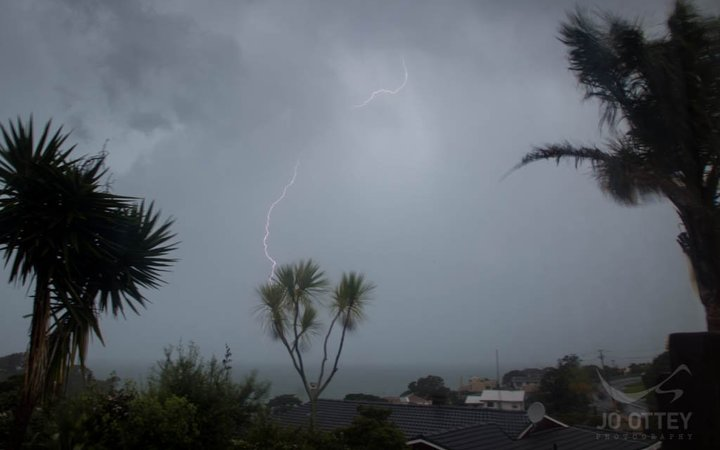 Lightning strikes over Auckland this morning.