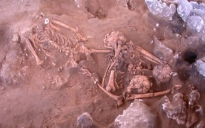 A 3,000-year-old burial in the Pacific Island nation of Vanuatu that is source of one of the ancient DNA samples.