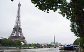 River Seine still overflows its banks on June 3, 2016 near Eiffel tower in Paris following heavy rainfalls.