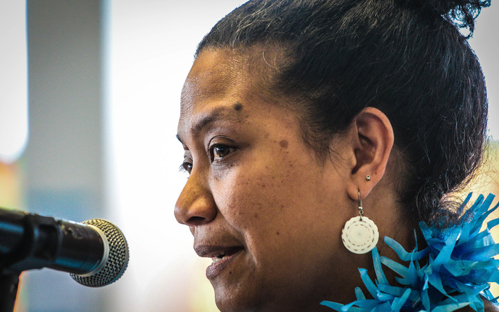 Dr Teresia Teaiwa - the Director of Va'aomanu Pasifika - Samoan and Pacific Studies at the Victoria University of Wellington. Speaking at an event during Fiji Language week 2016.