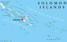 Solomon Islands political map with capital Honiara on Guadalcanal. Sovereign country consisting of six major islands in Oceania between Papua New Guinea and Vanuatu.