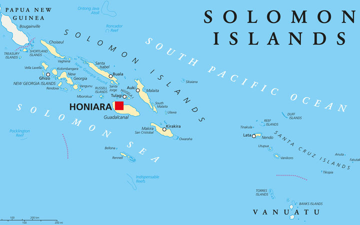 Solomon Islands Political Map With Capital Honiara On Guadalcanal.  Sovereign Country Consisting Of Six Major