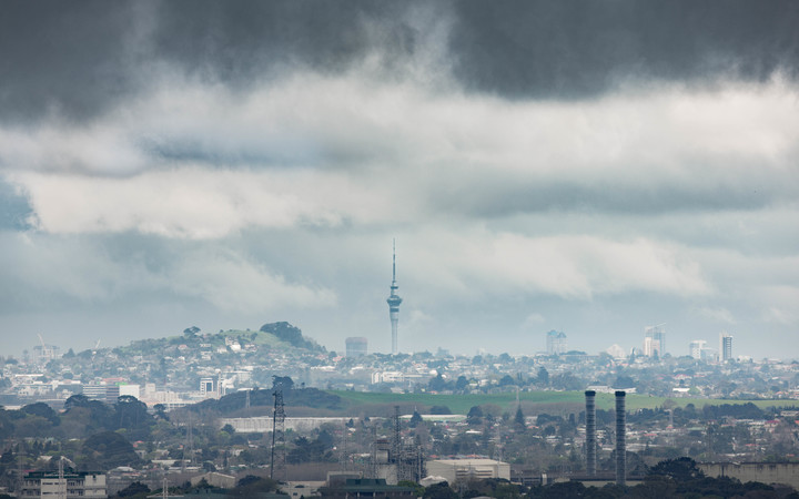 Storm clouds collect over Auckland.