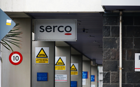 A Serco sign at Mt Eden prison