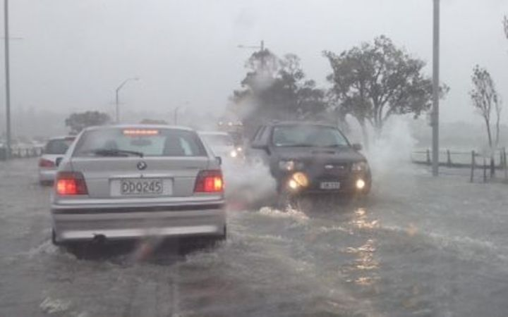 Tamaki Drive in Auckland was closed because of flooding.
