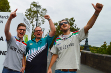 New Zealand fans in Melbourne get ready to support the Black Caps.