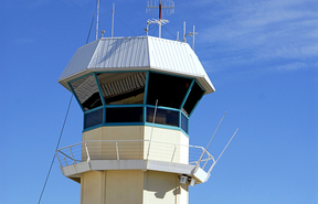 The air traffic control tower at the Noumea's Magenta airport.