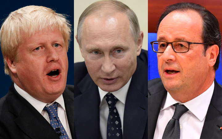UK Foreign Secretary Boris Johnson, left, has echoed the sentiments of French President Francois Hollande, right, over Russia's actions in Syria. Russian President Vladimir Putin, centre, has denied his country bombed a UN relief envoy in Aleppo.