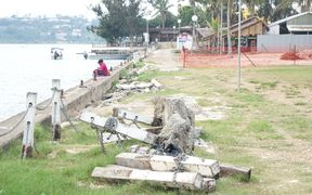 A year on from cyclone Pam, there is still visible signs of damage in the capital, Port Vila. This is along the town's serene waterfront.