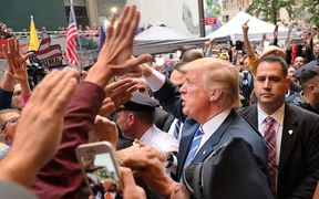 Trump greeting supporters in New York