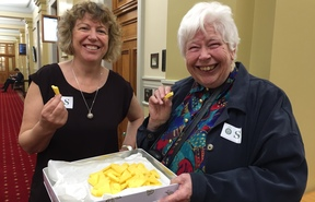 Biddy Fraser Davies and Jill Whalley offered raw milk cheese to a select committee to taste.