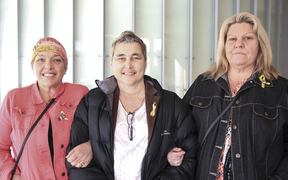 09082016. Photo Rebekah Parsons-King. Pike River families want mine's CEO to face charges. L-R Anna Osborne, Helen Kelly and Sonya Rockhouse.