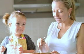 Carine Claudepierre baking with daughter, Emma