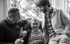 22082016 Photo: Rebekah Parsons-King. L-R Max Kelly (Helen's brother) Helen Kelly and Dylan Kelly (Helen's son).