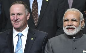 New Zealand Prime Minister John Key, left and and India's Prime Minister Narendra Modi at the Nuclear Security Summit in  Washington, DC.