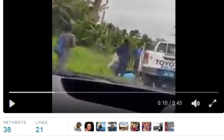 A still image from a video that emerged on social media of an alleged police beating near Pacific Harbour. October 2016