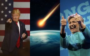 One in four young people would prefer a meteor to destroy Earth than see Donald Trump, left, or Hillary Clinton, right, in the White House.