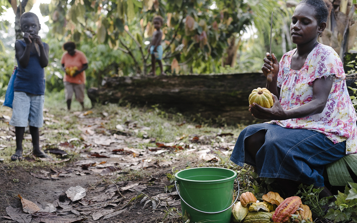 Mother of three Elsie Konovai, works on her family's cocoa plantation, which is now earning her and her family an income.