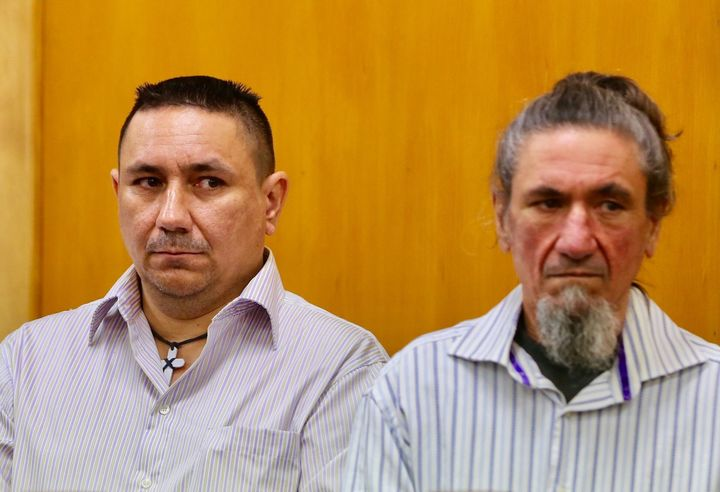 (from left) Mathew Thomas Madams, Kevin Roy Madams, and Tyrone Peter Madams, on trial for the murder of Craig Rippon.
