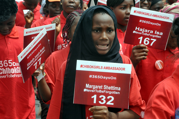 Children take part in a demonstration in Abuja on 14 April, marking one year since the abduction of 219 schoolgirls.