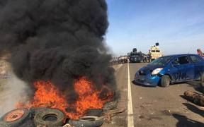 Tires were set alight during the protest against the controversial Dakota Access pipeline.