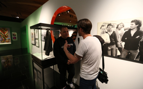 Music 101 presenter Alex Behan interviewing DJ Sirvere at the Volume: Making Music in Aotearoa exhibition at Auckland Museum