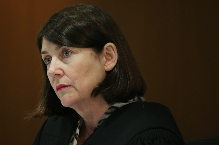 Chief District Court judge Jan-Marie Doogue listening to arguments in the case against the Ministry of Social Development at the Wellington District Court, 4 July 2016