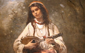 Gypsy Girl with Mandolin - c. 1870, oil on canvas by Jean-Baptiste-Camille Corot