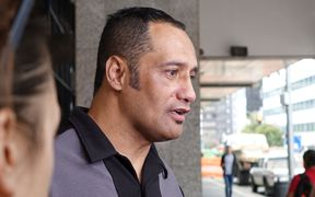 Hurimoana Dennis outside the Auckland district court where he appeared on kidnapping charges.