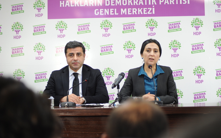 Selahattin Demirtas and Figen Yüksekdag in Ankara following a parliamentary vote in Turkey on 1 November 2015.