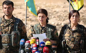 Jihan Sheikh Ahmed, a spokeswoman for the Syrian Democratic Forces (SDF), holds a news conference in the town of Ain Issa, some 50km north of Raqqa on 6 November 2016.