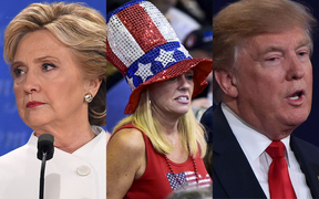 Hillary Clinton, a woman wearing a US flag hat and Donald Trump.
