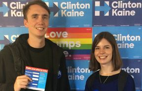 New Zealanders Josh Pemberton and Alice Osman, who are both students at Harvard Law School, spent a day canvassing Democrat voters in New Hampshire.