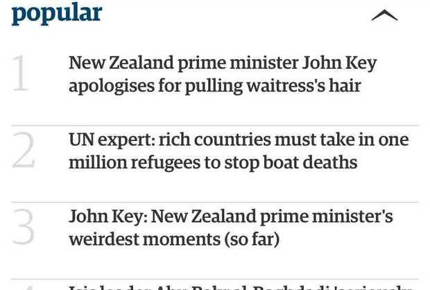 The Guardian's most popular stories list overnight.
