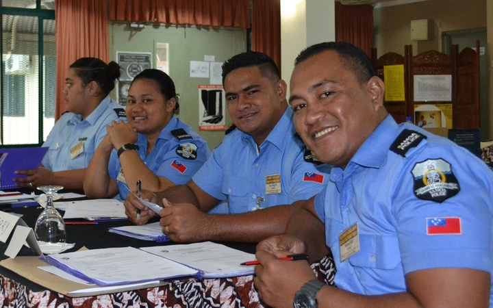 Participants in workshop on gender violence for Pacific police